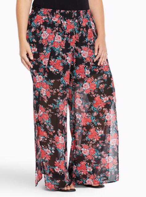 d652b837359 Torrid Floral Chiffon Side Slit wide Pants Black 1X 14 16 1  66415 ...