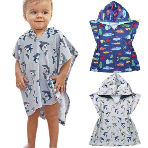 Children Kid Baby Boy Girl Cartoon Hooded Poncho Swim Beach Bath Towel Bathrobe