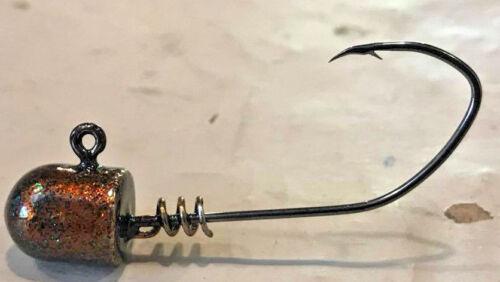 30pk 3//8oz Ned Head With Screw Loc Venom Powder Coated 4//0 Hook