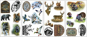 New-BEARS-DEER-TURKEYS-WALL-DECALS-Animals-Stickers-Hunting-Room-Decorations