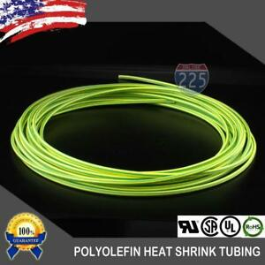 "10 FT. 10' Feet GREEN & YELLOW 1/16"" 1.5mm Polyolefin 2:1 Heat Shrink Tubing US"