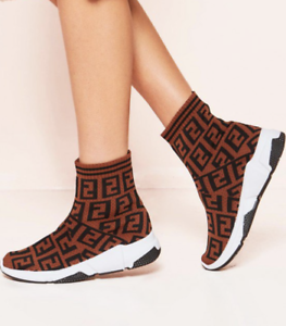 Womens-Ladies-Sock-Knitted-Flat-Sneakers-Trainers-Fendi-Look-Sport-Shoes-Size