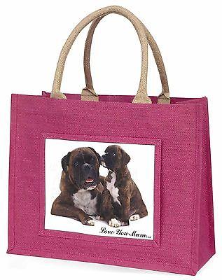 Boxer Hund+Welpe 'Liebe, die Sie Mama' Große Rosa Einkaufstasche Weihnachten P,
