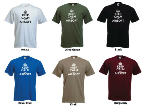 /'Keep Calm and Airsoft/' Paintball Combat Funny Birthday Gift T-shirt