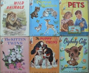 6 Vintage Rand McNally Elf Books ~ PETS, CRYBABY CALF, PUPPY TWINS, KITTEN TWINS