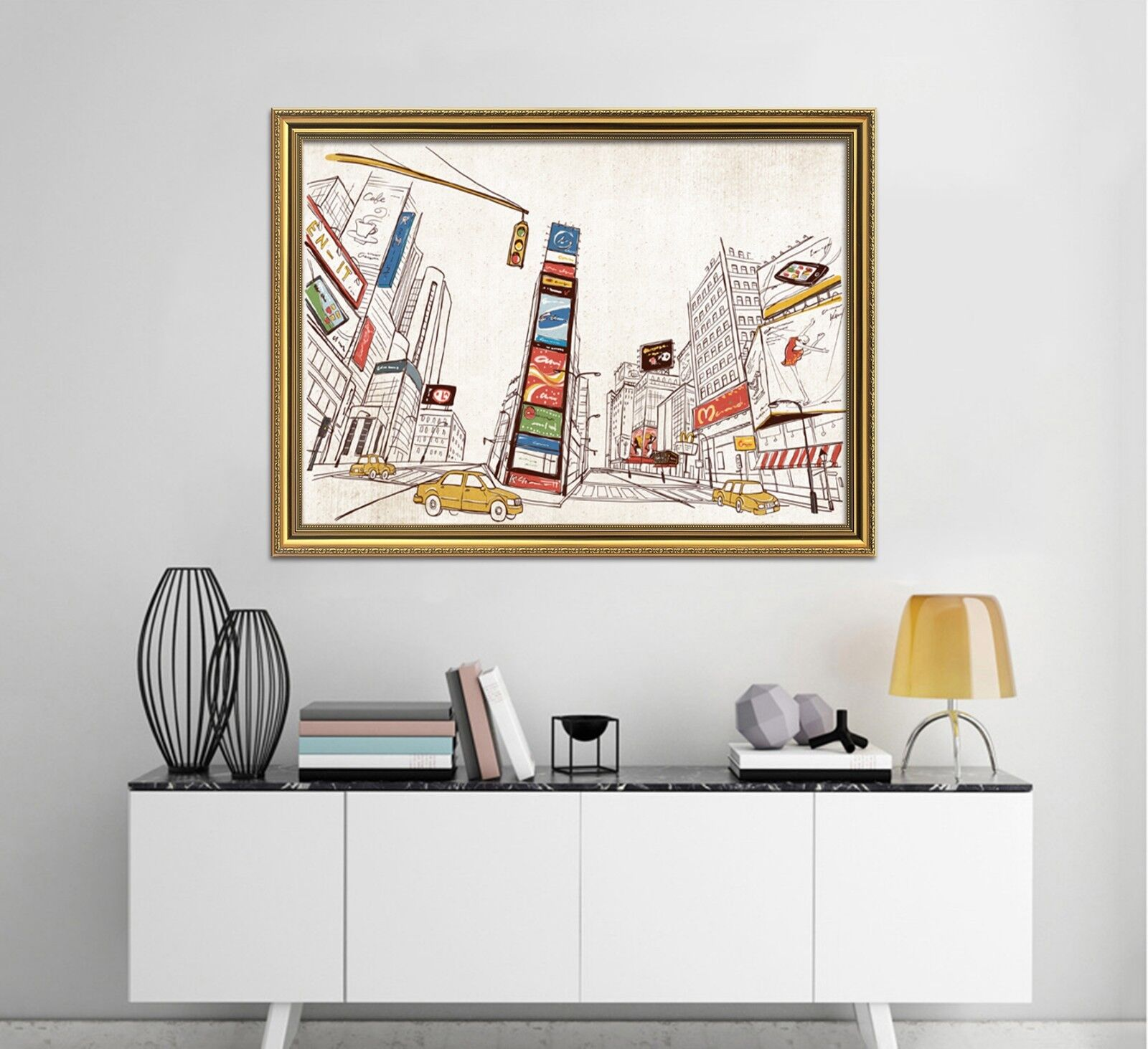 3D Downtown Street Car 2 Framed Poster Home Decor Print Painting Art WALLPAPER