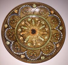 "Horezu Romania Folk Art Pottery 10.5"" Painted Plate Signed 1997"