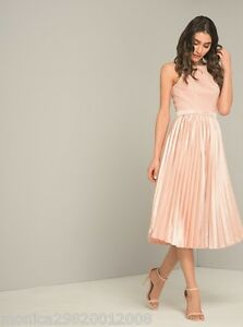 Chi Chi London Pleated Lace Midi Dress Wedding Party Cocktail Uk 8