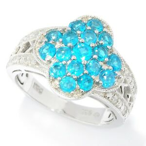 Platinum-o-Silver-1-44ctw-Neon-Apatite-Cluster-Ring-Size-7