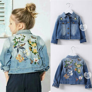 Brand Kids Girls Clothes Denim Jackets Coats Long Sleeve Embroidery