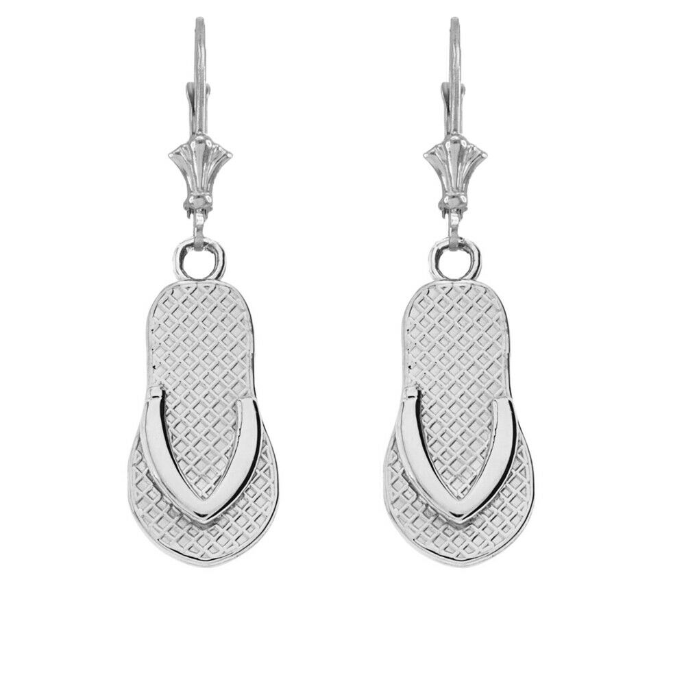 Solid 10k 14k White gold Flip Flop Earrings Set