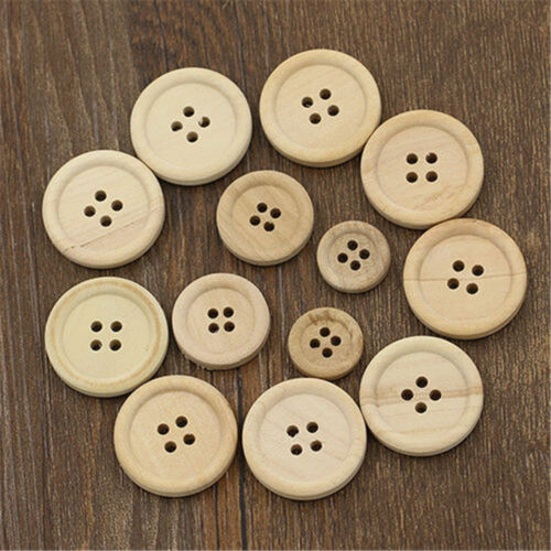 50Pcs Mixed Wooden Buttons Natural Color Round 4-Holes Home Sewing Scrapbooking