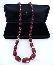 Vintage Cherry Amber Bakelite Beaded Bead Necklace. Gorgeous!