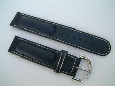 GENUINE ROTARY SWISS COMMANDO WATCH STRAP BLUE LEATHER WITH SILVER BUCKLE /20MM