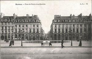 CARTOLINA-RENNES-Place-du-Palais-et-rue-Bourbon-1905-ca