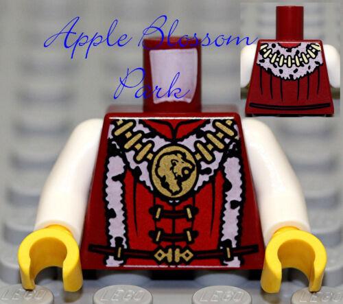 NEW Lego Kingdoms Dark RED MINIFIG TORSO Knight King w//Gold Castle Lion Chain