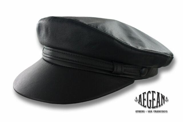 Aegean Fiddler Cap Black Leather Greek Fisherman Hat Sailor Black S M L XL XXL