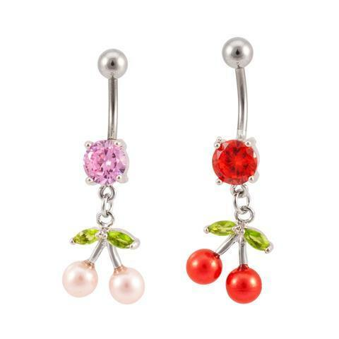 Pearl Cherries Dangle Solitaire Belly Button Ring