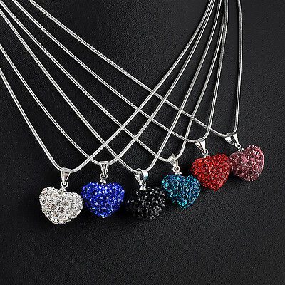 New Full Rhinestone Crystal Heart Silver Plated Necklace Jewelry Pendant Chain