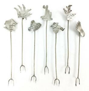 (7) Sterling Silver Southwest Style Cocktail Picks Lot 1360