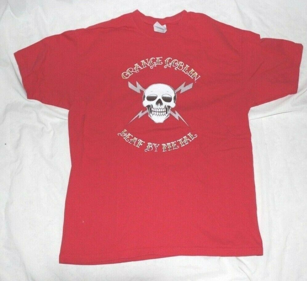 Orange GOBLIN DEAF By METAL COUP DE GRACE T-shirt rot Large L Made In England