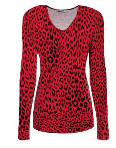 Ladies Long Sleeve Animal Leopard Print Top Women/'s V Neck T-Shirt UK Size 8-24