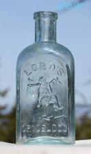 ORIGINAL 1800's antique QUACK medicine bottle w/ pic MAN breaking his CRUTCHES !