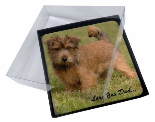 4x NorwichNorfolk Terrier 'Love You Dad' Picture Table Coasters Set in, DAD80C