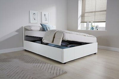 Side Lift Up 4ft Small Double Ottoman bed Faux Leather Storage bed White graded