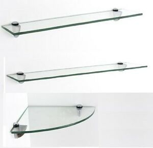 Super Details About Clear Glass Wall Mounted Shelve Shelf Rack Kitchen Home Office Bathroom Bookcase Home Interior And Landscaping Oversignezvosmurscom