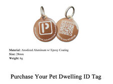 Metal QR Code URL Link Pet ID Tag for Web/Mobile Access w/Scanned GPS Location