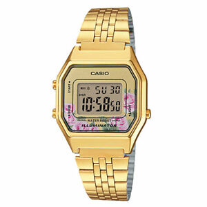 NEWEST-Casio-LA680WGA-4C-Women-Mid-Size-Digital-Retro-Vintage-Watch-FLORAL-GOLD