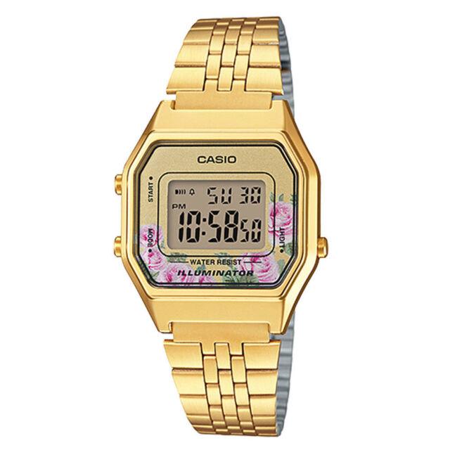 c8f8fe8501b NEWEST Casio LA680WGA-4C Women Mid-Size Digital Retro Vintage Watch FLORAL  GOLD
