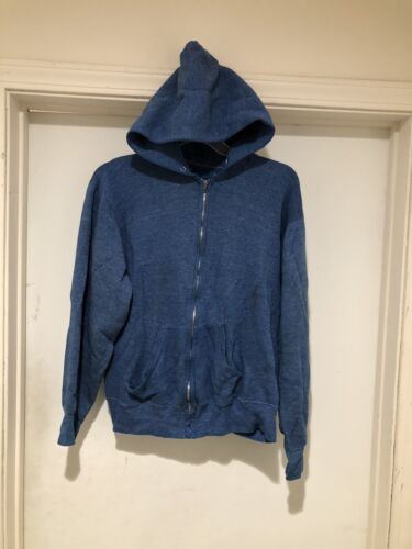 Vintage 50s 60s Zip Up Hoodie Size Medium Blue Roc