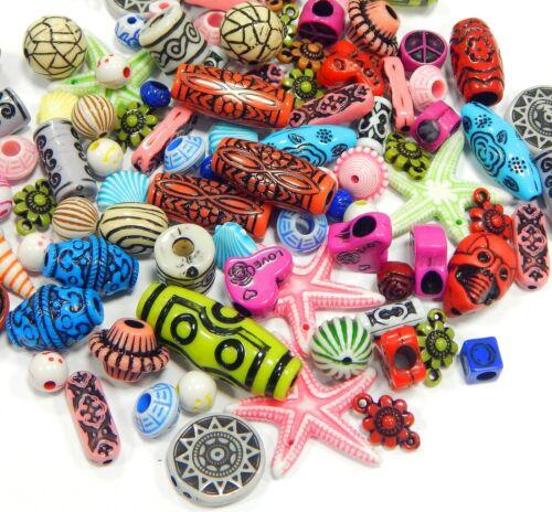 50 g Plastique Perles gemisht Tibet Antique Bijoux Acrylique entre perles multicolores d122
