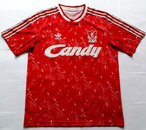 Rare LIVERPOOL 1990 CANDY Genuine Adidas Originals Home Shirt (M) Jersey 1989