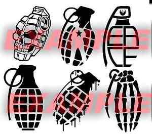 PICK-COLOR-SIZE-Vinyl-Grenade-Army-Skull-Fingers-Bone-Sticker-Window-Glass