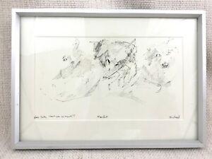 Original Husky Hund Zeichnung Michael Fell Britisch Royal Academy Artist Gerahmt
