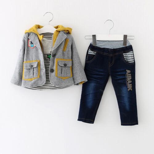 Bimbo Bambino 3 PC Set Vestito Festa vestito Size1-6 Anni Giacca Maglia Jeans