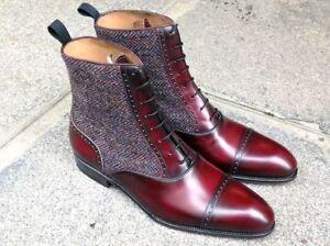 Men-Latest-Winter-Versatile-Real-Leather-amp-Tweet-Fabric-Boots-bottes-hommes