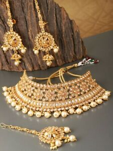 Bollywood-Indian-Gold-Diamante-Earrings-Necklace-tikka-bridal-choker-set