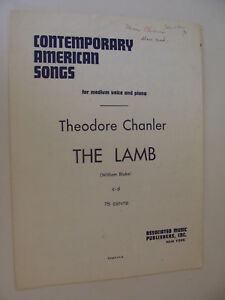 Details About The Lamb By Theodore Chanler 1946 Poem By William Blake Medium Voice