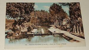 Carte-Postale-MEAUX-VILLENOY-Canal-de-l-039-OURCQ-L-039-Ecluse-Carte-colorisee