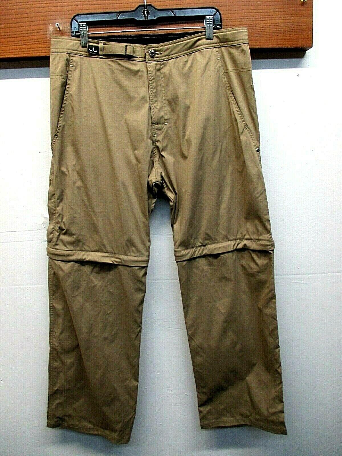 EUC Men's Prana Nylon Blend Adjustable Waist Congreenible Hiking Camping Pants XL