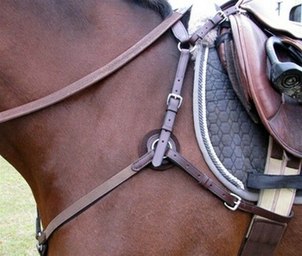 5 Way Hunt Breastplate with Elastic Horse  Size Havana with stainless steel  for cheap