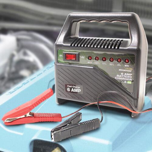 Portable 12V Car Battery Charger 6Amp Leads Start Power Cables Starter Motorbike
