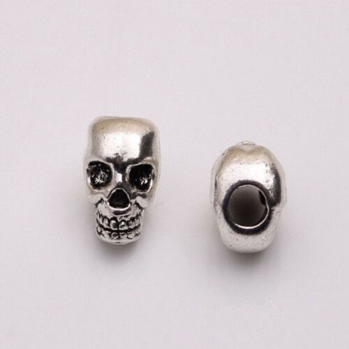 10 Pieces argent antique Skull Head Spacer Beads Jewelry Bracelet Findings 4 mm trou