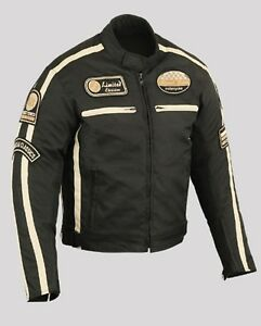 Veste-Blouson-En-Textile-Moto-Homme-Vintage-Cafe-Racer-L-XL-2XL
