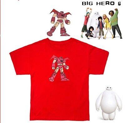 Big Hero 6 Mascot Baymax Logo Hiro Hamada Cosplay Red T-Shirt TEE Costume New