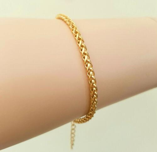 7 pulgadas 18ct oro trigo trenzado cadena pulsera con cadena Extender